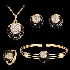 Women Sun and Moon Rhinestone Necklace Bracelet Ring Earrings Jewelry Set
