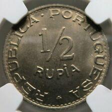 INDIA GOA PORTUGAL 1/2 rupia 1947 NGC MS 66 UNC Pop 1/1 RARE