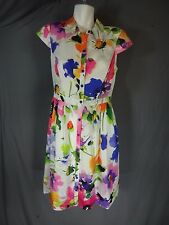 ADRIANNA PAPELL White floral Cap Sleeve Button down Dress Size 8