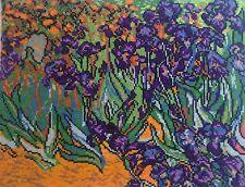 IRIS Vincent Van Gogh HAND MADE FINISHED CROSS STITCH Arazzo il cucito arte