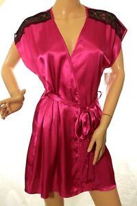 Linea Donatella Women's Pink Satin Lace Robe Size L