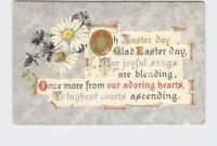 PPC POSTCARD EASTER POEM SCROLL DAISES GOLD SILVER EMBOSSED