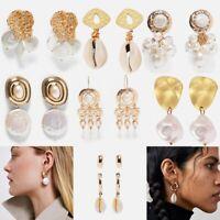 1 Pair Elegant Women Pearl Shell Ear Stud Earrings Fashion Jewelry Gift Party