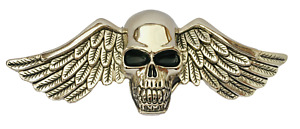 Belt Buckle Skull w/ Wings & Feathers, Silver, Classic, Fits 40mm Belts, Quality