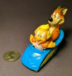 1993 Warner Bros Plastic Toy Scared Dog With Baby in Car