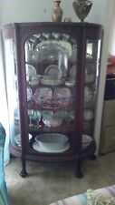 1880-1900 Quartersawn Oak Curved Glass Carved & Claw Feet China Cabinet Display