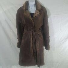 Express Patchwork Genuine Leather Jacket Brown Suede Boho Fur Lined Coat Sz L