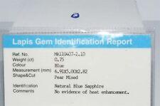 $800 .75Ct Natural Lapis Gem Certified No Heat Blue Sapphire Loose Gemstone