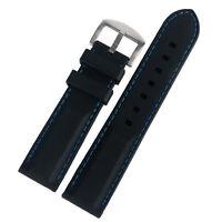 20/22/24/26mm Black Silicone Rubber Watch Strap Band Blue/Yellow/Orange Stitch