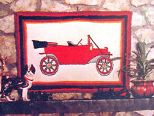 Rumpelstiltskin's RUG TUFTING Hooking  Burlap CANVAS 22x32  MODEL T ANTIQUE CAR