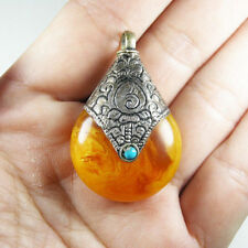 Handmade Tibetan Nepalese Beewax Amber & Turquoise Silver Pendant
