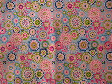 cotton fabric quilting sewing blue green pink paisley flowers size 50cms x 50cms