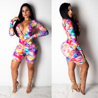 Womens Jumpsuit Short Rompers Deep V-neck Clubwear Floral Playsuit Bodycon Dress