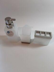 InterDesign Bath 3 Piece Set Casilla Glass Foaming Soap Dispenser Pump