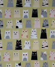 """New 100% Cotton, 45"""", Timeless Treasures, Yellow-Green, Trapezoid Shaped Cats"""