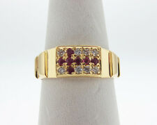 CROSS Natural Rubies w/ CZs Solid 18k Yellow Gold Ring 7mm Band Size 8