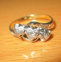 ANTIQUE 18ct YELLOW GOLD & PLATINUM TRIPLE HEARTS DIAMOND BAND RING SIZE M