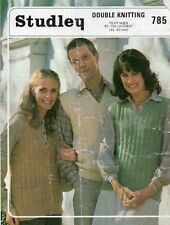 """Vintage Studley 785 knitting pattern his/ her Lacy Slipover & Waistcoat, 32-40"""""""