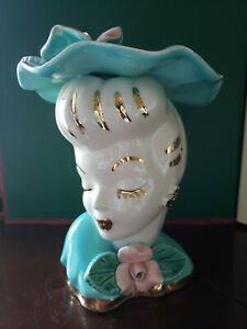 "Vintage Lady Head Vase with Aqua Dress and  Hat  7"" TALL"