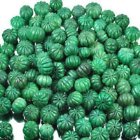 Natural Green Emerald Melon Beads Drilled Carved Loose Gemstone Lot