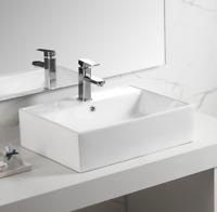 Bathroom Rectangle Porcelain Ceramic Vessel Vanity Sink White Above Counter