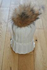 WHITE Knit Natural Raccoon Fur XL Pom Pom Bobble Hat Winter Hat  Beanie.UK STOCK