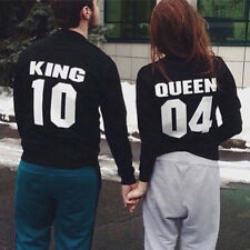 King and Queen Print Couple Hoodie Sweatshirts Pullover Jumper Matching Sweater