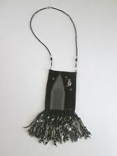 Handcrafted NEW YORK CITY Theme BEADED AMULET Bag Empire FRINGE & CHARMS NYC