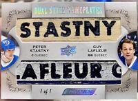 2018-19 ENGRAINED DUAL STICK NAMEPLATES STASTNY / LaFLEUR 1/1 Quebec Nordiques