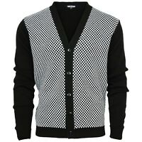 Relco Two Tone Black & White Checkered Cardigan Ska Skin Rudeboy Specials