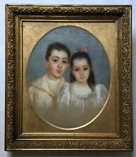 Grand pastel sur toile XIXe, signé, daté, encadré, Portrait de famille