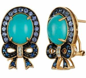 Carlo Viani 14K Yellow Gold Turquoise Tanzanite Sapphire Halo Cocktail Earrings