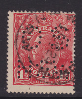 """KGV 1924 1 1/2d Scarlet Single Wmk PERF """"OSNSW"""" USED  (LC111)"""