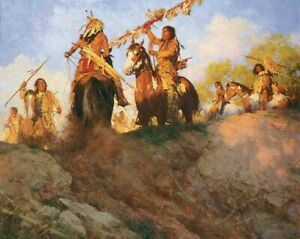 H Terpning New S/N Canvas Giclee Titled Sunset for the Comanche - NO COA