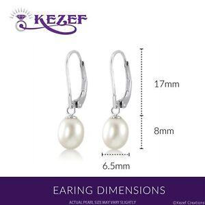 Genuine Sterling Silver Leverback Freshwater Pearls Drop Earrings
