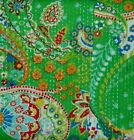Indian+Handmade+Kantha+Quilt+Bedspread+Cotton+Throw+Green+Tropicana+Embroidery