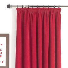 "B&Q RED  WINE CLARET CHENILLE FULLY LINED CURTAINS, MADISON RED 66"" X 54"" #236"