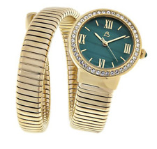 """Colleen Lopez Round """"Malachite"""" Dial Coil Wrap Bracelet Watch Gold Tone Tubogas"""