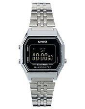 La680wa-1b Silver Black Casio Stainless Steel Watch Lady Stopwatch Alarm Digital