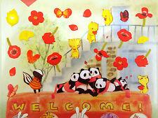 Cute poppy flowers & animal stickers! Kawaii ginkgo leaves, forest animals panda