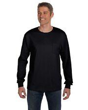 Hanes 6.1 oz Heavy Tagless 100%25 Cotton Long Sleeve Pocket S-XL T-Shirt R5596