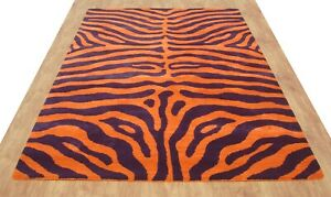 Zebra Orange Purple Modern Handmade Hand-Tufted 100% Wool Area Rug Carpet