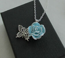 Handmade Turquoise & White Fimo Flower & Silver Butterfly Charm Necklace - Gift