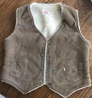 Vintage Levis Brown Corduroy Sherpa Vest Large USA 60606-1523 WPL 423