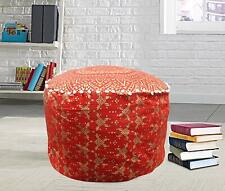 Red Mandala Pouf Cover Ottoman Cotton Floor Pillow Bohemian Decorative Footstool