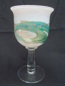 Isle of Wight Studio Glass Golden Peacock Goblet c.1983 Michael Harris Design