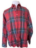 Ralph Lauren Mens Long Sleeve Button Down Shirt Red Green Plaid Size L