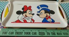 """Vintage Walt Disney Productions Small Food Tray Minnie Mickey Mouse 9"""" Long"""