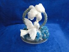 New Love Bird Wedding Cake topper with Turquoise/Blue flowers
