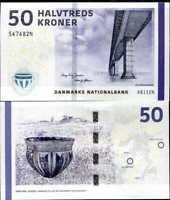 DENMARK 50 KRONER 2009 (2013) P 65 SIGN HUGO & LARS UNC